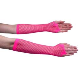 Nethandschoen lang fluor pink