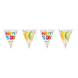60 Jaar Happy Bday Stippen Vlaggenlijn - 10 meter