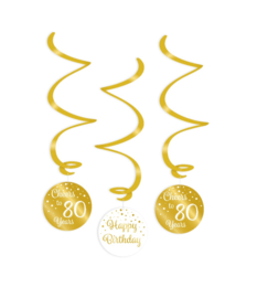 Swirl decorations gold/white - 80