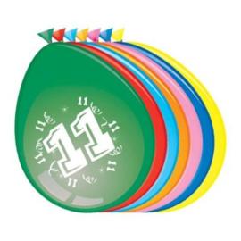 Ballonnen 11 jaar (Ø30cm, 8st)
