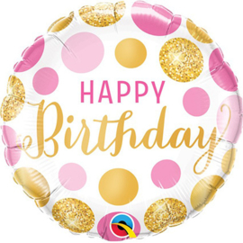 Folieballon Happy Birthday Pink & Gold Dots - 45 cm
