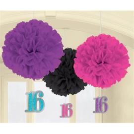 Sweet 16 Fluffy Hangdecoratie - 3 stuks