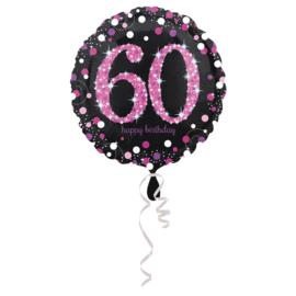 Folieballon 60 Jaar Sparkling Pink - 45 cm