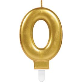 Verjaardag Kaars 0 jaar- Goud 7.5 cm