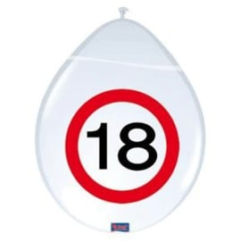 Latex Ballonnen 18 jaar 8 Stuks Verkeersbord
