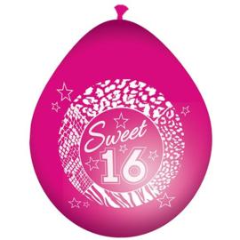 Latex Ballonnen Sweet 16 jaar 8 Stuks