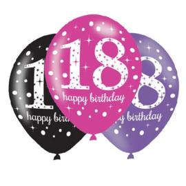 Ballon sparkling pink '18' (Ø28cm, 6st)