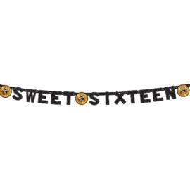Letterslinger Sweet 16 Zwart/Goud