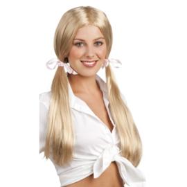 Pruik schoolgirl blond lang haar
