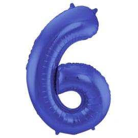 Cijfer 6 Mat Blauw - 86 cm