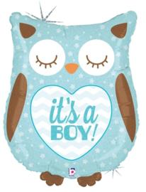 Folieballon Baby Uil 'It's a Boy'  -  66 cm