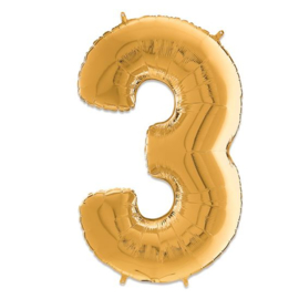 Cijfer 3 Goud - 66 cm