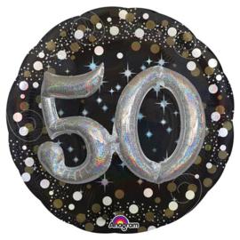 Folieballon 50 Jaar 3D Sparkling - 81 cm