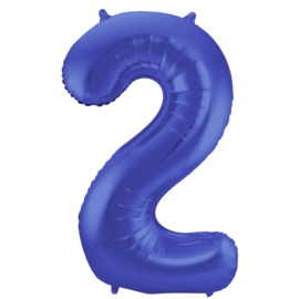 Cijfer 2 Mat Blauw - 86 cm