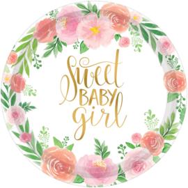 Bordjes Sweet Baby Girl 18cm - 8 stuks