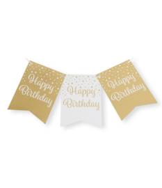 Party flag banner gold/white - Happy Birthday