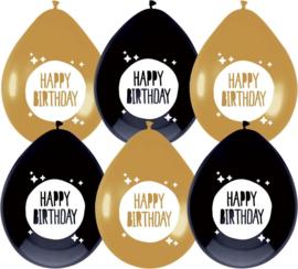 "Ballonnen Festive Gold ""Happy Birthday"" - 6 stuks"