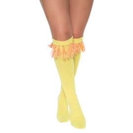 Sokken over-knee fluor geel