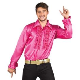 Ruches blouse knalroze