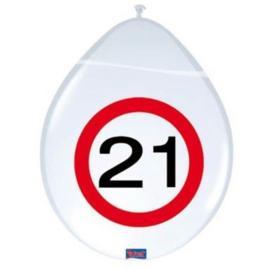 Latex Ballonnen 21 jaar 8 Stuks Verkeersbord