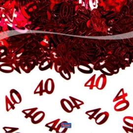 40 Jaar Jubileum Tafeldecoratie  Sierconfetti Rood