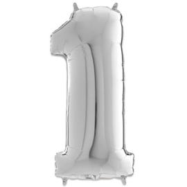 Cijfer 1 Zilver - 66 cm