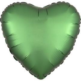 Folieballon hart satin emerald - 43 cm
