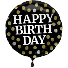 Folieballon Glossy Black 'Happy Birthday' - 45 cm