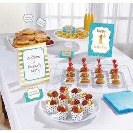 Decoratiekit eerste verjaardag buffet blauw 12-delig