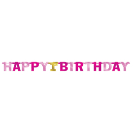 1e Verjaardag Meisje Grote Roze Folie Letter Banner