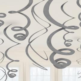 Zilveren Hangende Swirls Decoraties - 55 cm
