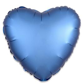 Folieballon hart satin azuurblauw - 43 cm