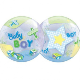 Folieballon Bubble Baby Boy Airplanes - 56 cm