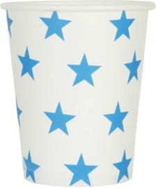 Papieren bekers 10 stuks wit met blauwe sterren