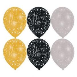 Happy Birthday Gouden Mix Glitterfeest Ballonnen - 28 cm