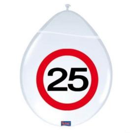 Latex Ballonnen 25 jaar 8 Stuks Verkeersbord