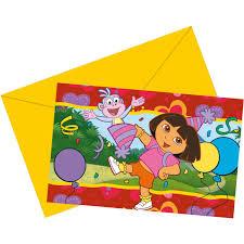 Uitnodigingen Dora 6 Stuks
