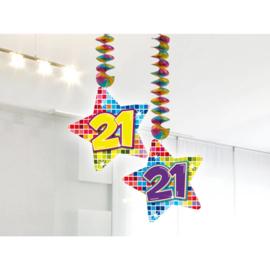 Spiraalversiering Birthday Blocks 21 jaar - 2 stuks