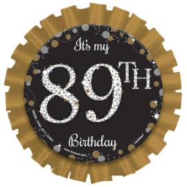 Glitterfeest Button Verjaardag Personaliseerbaar - 7,6 cm