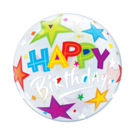 Folieballon Bubble Happy Birthday Stars - 56 cm