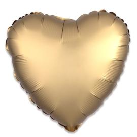 Folieballon hart satin goud - 43 cm