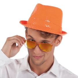 Hoed popstar pailletten oranje