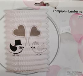 Lampion Just Married 2 stuks