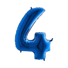 Cijfer 4 Blauw 100 cm