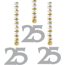25 Jaar Zilveren Hangdecoratie - 3 stuks