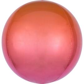 Folieballon Orbz Ombré Rood & Oranje - 40 cm