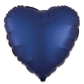 Folieballon hart satin navyblauw (43cm)
