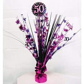 Roze Feest 50 Jaar Tafeldecoratie - 46 cm