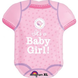 Folieballon Geboorte Baby Body it's a Girl 60 cm