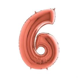 Cijfer 6 Rosé goud 100 cm
